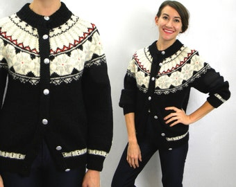 50s Scandinavian Cardigan  Black Danish Wool Sweater Cardigan   Medium