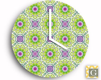 Wall Clock by GABBYClocks - Green Daisies