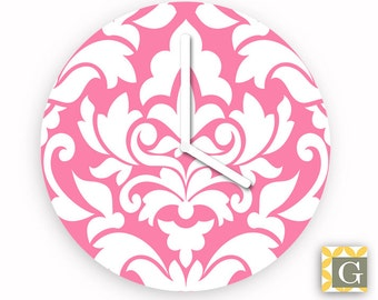 Wall Clock by GABBYClocks - Damask Pink Grande
