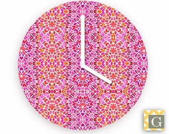 Wall Clock by GABBYClocks - Fuchsia Flurry No. 5