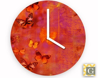 Wall Clock by GABBYClocks - Red Butterfly Collage