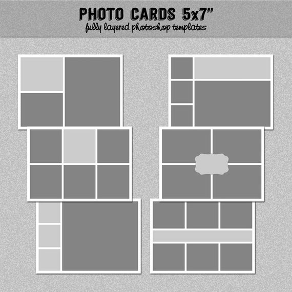 6 photo card templates 5x7 set 3 instagram collage blog board storyboard photoshop. Black Bedroom Furniture Sets. Home Design Ideas