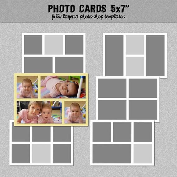 6 photo card templates 5x7 set 2 instagram collage. Black Bedroom Furniture Sets. Home Design Ideas