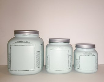 Anchor Hocking distressed kitchen canister set, rustic, painted, home decor, home storage, containers