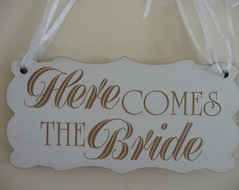 Here Comes Your Bride Sign, EXTRA LARGE SIZE, Wooden Wedding Sign, Ring Bearer Sign, Flover Girl Sign, Page Boy Sign, Wedding Ceremony Sign