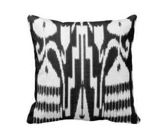 """Ikat Print Throw Pillow Covers, Black & White 16 or 20"""" Pillows/Cover"""