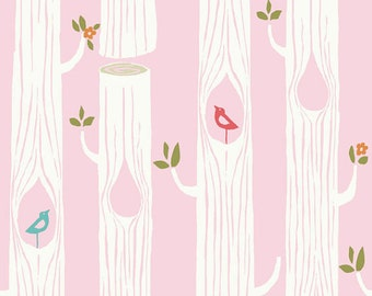 Tree stripes in pink by Birch fabrics, ONE Yard