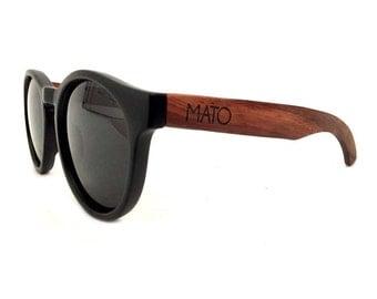 Mato Bamboo sunglasses - Erika Round Polarized Wooden Sunglasses - Mens/Womens Wood Sunglasses - Wood Handle Sunglasses, Wooden Eyewear