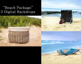 Instant Download Beach Digital Photography Backdrop Collection Newborn Baby Photography Sandy Beach Boat Pirate Scene
