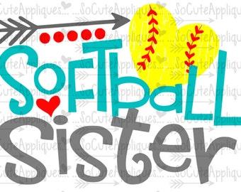 SVG, DXF, EPS Cut file, Softball Sister, softball cut file socuteappliques, silhouette cut file, cameo file, softball sister cut file