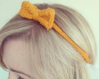 Handmade knitted bow tie headband