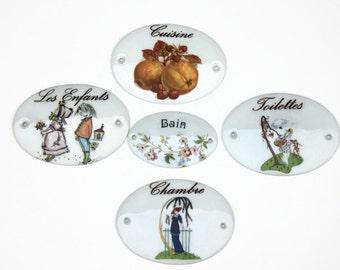 FIVE French vintage decorative porcelain door plaques, door plates ,finger plates ,home decor,Cuisine,Chambre,Les Enfants,Bain,Toilletes