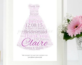 Personalised Bridesmaid Flower Girl Maid of Honour Wedding Favour Thank You Word Art Keepsake Gift A4 Print only FREE UK P+P