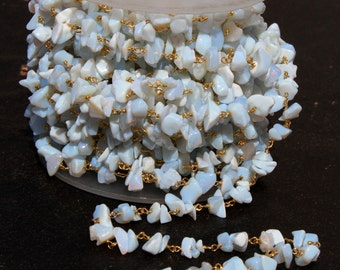 Opalite Chips Rosary Style Beaded Chain, Gold Plated Wire Wrapped Chain, Handmade Beaded Chain CH05