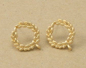 Laurel tree Earrings, 925 Silver Post, Jewelry Craft Supplies, Matte Gold Plated over Brass - 2 Pieces-[AE0044]-MG