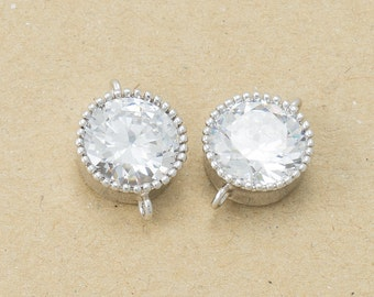 Wedding Cubic Round Connector(Parallel Connector) Cubic Zirconia, Polished Rhodium Plated over Brass - 2 Pieces-[BC0044]-PR