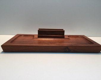 Vintage Mens Walnut Dresser Valet...Mid Century Modern Desk Organizer..Retro Modern Mans' Accessory Holder..Modern Walnut Catch-all..