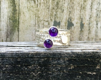 Amethyst Stacking Rings - Amethyst Stacking Set - Sterling Silver - February Birthstone - Purple Rings - Gemstone Ring - Bezel Set Ring