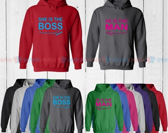 She is the Boss & He is the Man - Matching Couple Hoodie - His and Her Hoodies - Love Sweaters
