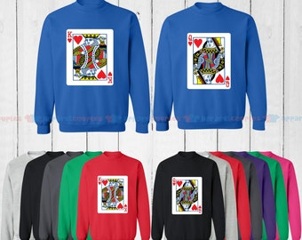 King of Hearts & Queen of Hearts - Matching Couple Sweatshirt - His and Her Sweatshirts - Love Sweaters