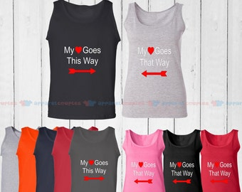 My Heart Goes This Way - Matching Couple Tank Top - His and Her Tank Tops - Love Tank Tops