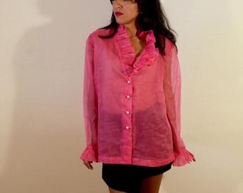 1960s Bonne Lass Pink Polka Dot Blouse