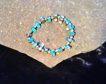 Dyed Blue Seashell and Silver Bracelet