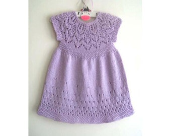 Evie Dress - Knitting Pattern - Baby girl to age 6  - Instant Download PDF