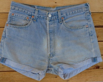 Vintage Levi Cut Offs, Levi 501s, Medium Shorts, High Waisted Denim Shorts, Rock Chick Shorts, Rocker Shorts, Blue Shorts, Womens Shorts