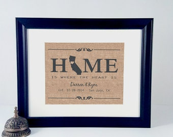 Personalized House Warming Gift Home State Sign - New Home Gift, 1st Anniversary Gift