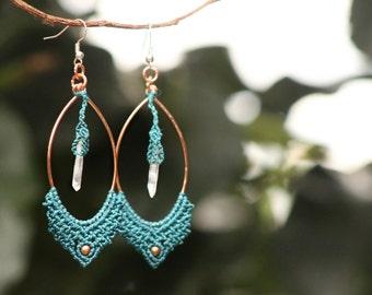 Macrame quartz earrings,copper hoop,quartz jewelry,quartz earrings,quartz macrame,macrame quartz,danty quartz,yoga,turqouise jewelry,fest
