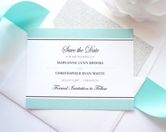 Elegant Mint and Silver Save the Dates, Blue and Silver Save the Date Cards, Mint Green Save the Date, Glitter - DEPOSIT