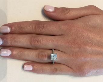 2.38 CT Princess Cut F/Vs2 Solitaire Diamond Engagement Ring 14k White Gold