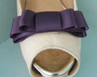 Handmade Plum Triple Bow Shoe Clips - other colours on request