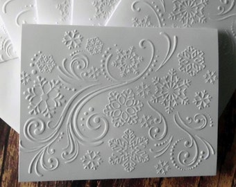 Snowflake Embossed Cards, Set of 5, White Embossed Christmas Cards, Embossed Snowflake Swirl Cards, Winter Note Cards, Winter Stationery
