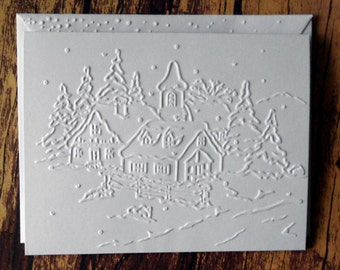 Christmas Village Card Set of 5, White Embossed Peaceful Village Cards, Blank Greeting Cards, Winter Note Cards, Christian Christmas Cards