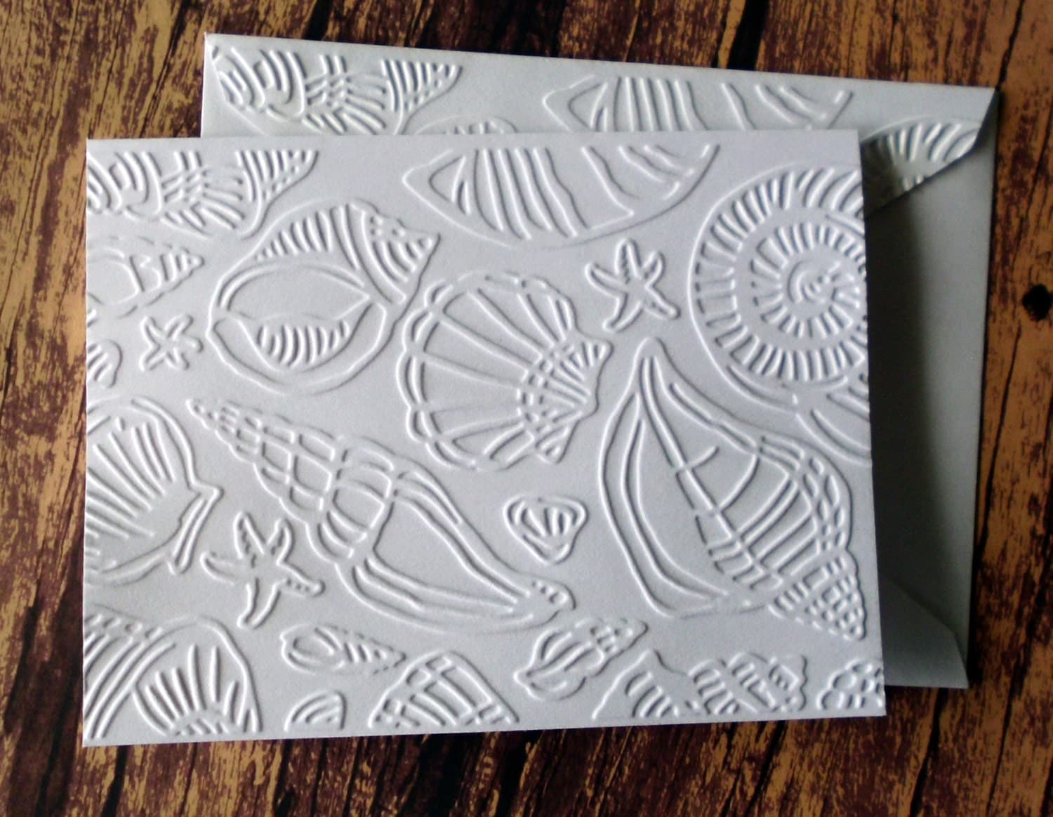 seashell cards set of 5 beach themed cards white embossed