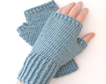 Knit Fingerless Gloves - Soft Wristwarmers, Silk Bamboo, Sea Blue, Ladies, Handknit, Winter Accessory