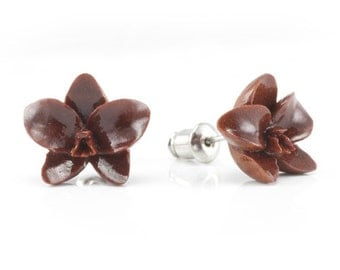 "Hand Carved - ""Orchid"" - Wood Stud Earring - Urban Flowers"