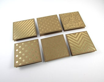 Mini Note Cards, SET OF 6, Gold Foil Note Cards, Stationery, Handmade