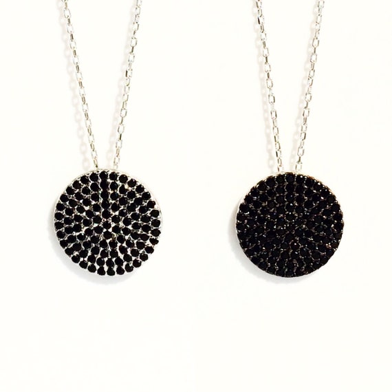 round disc pave necklace cubic zirconia and sterling silver NOW ON SALE