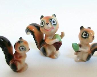 Vintage chipmunk striped squirrel figurines family