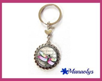 Door keys or bag Dragonfly multicolor glass cabochons