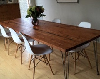 Reclaimed wood dining table with hairpin legs handmade in Reclaimed furniture portland