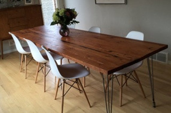Reclaimed Wood Dining Table With Hairpin Legs Handmade In