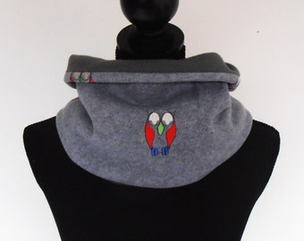 Tube scarf owls on grey fleece
