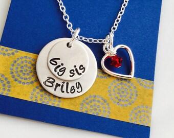 Big Sister Necklace, Big Sister Gift, Personalized Big Sister Necklace, lil sis necklace, Sibling Necklace, Sorority Sister