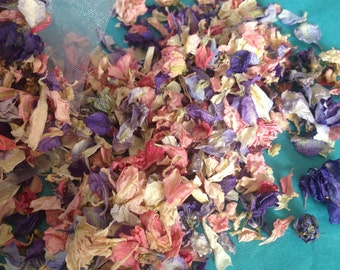 Dried delphinium petals - wedding confetti, table decorations, crafts, gifts, giftwrap