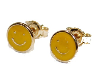 Yellow Happy Face 18k Gold Plated Earring - Happy Face Stud Earring