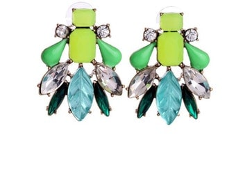 gem leaves earrings